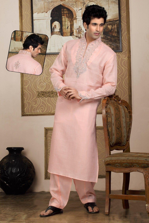 Peach silk Kurta Pyjama sku:518121