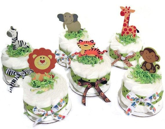 Jungle Safari Theme Diaper Cakes /  Baby Shower centerpieces, New Baby Gift, Baby Shower Gift - Could Come in Any Ribbon Color