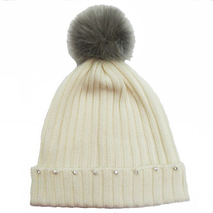 0eaf30de ladies knitted merino wool ribbed beanie with diamantes | Women's ...