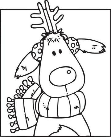 Reindeer With Scarf And Earmuffs Christmas Christmas Colors Christmas Coloring Pages Christmas Embroidery