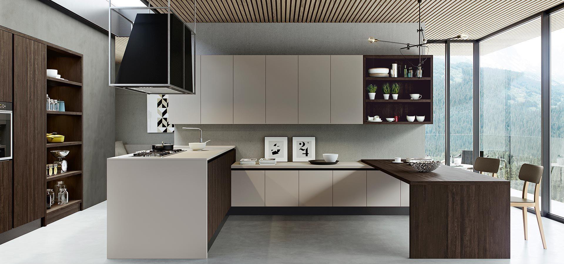Cucina moderna kal finitura rovere termocotto e maxximatt mokaccino piano in laminato - Laminato in cucina ...