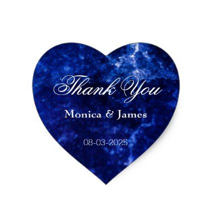 Wedding thank you elegant blue white heart sticker wedding stickers wedding and weddings