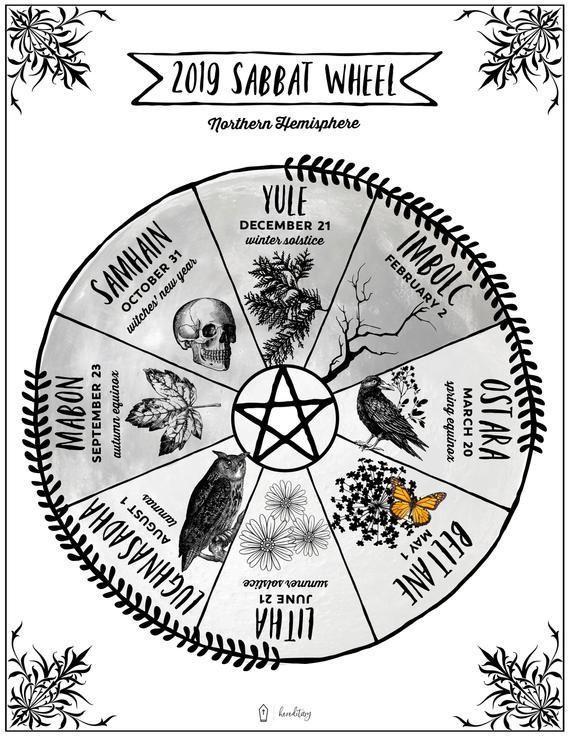 2019 Sabbat Calendar (DIGITAL) - Wheel of the Year - Wiccan Pagan Sabbats - Northern Southern Hemisphere - Printable + BONUS WALLPAPER #seasonsoftheyear