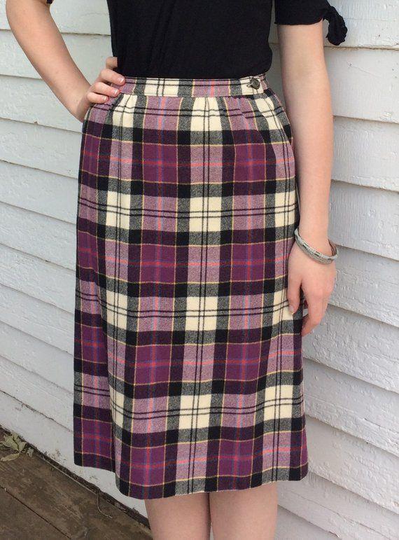 683530f328 Pendleton Purple Plaid Skirt Tartan Retro Wool Vintage S M in 2019 ...