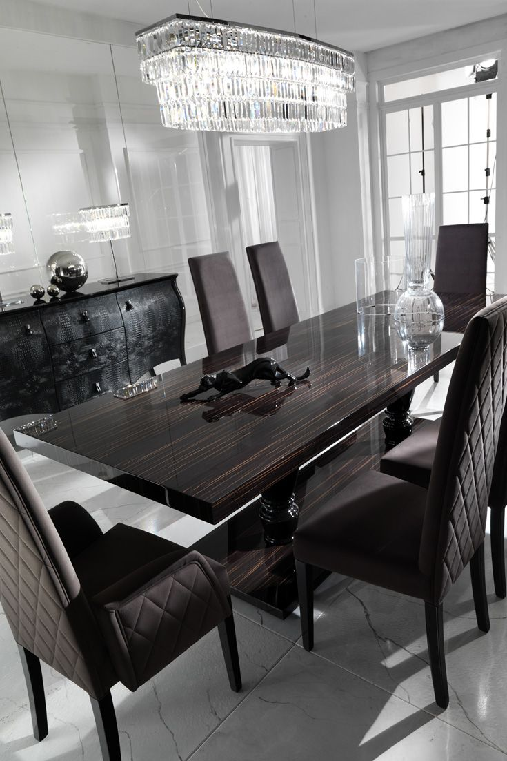 Large Ebony Dining Table Set Luxury Dining Room Interior Design