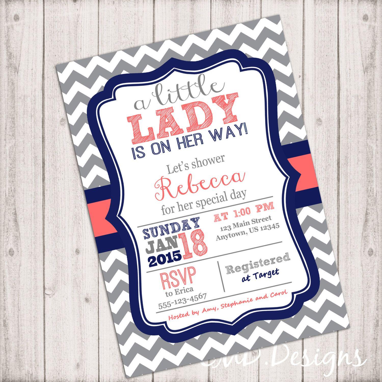 Girl Baby Shower Invitation Little Lady Invitation Gray Chevron Navy ...