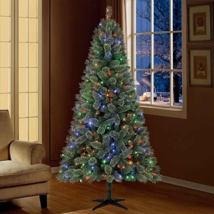 Artificial Christmas Tree 7 5 Foot Pre Lit With Stand Green Xmas Holiday Season Devinebestbuys Fir Christmas Tree Artificial Christmas Tree Christmas Tree Pre lit rotating christmas tree