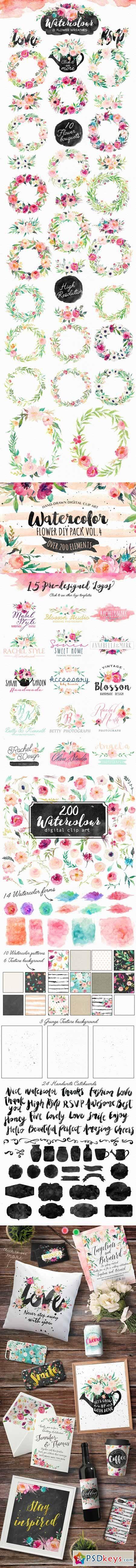 Watercolor DIY pack Vol 4 358935 | PSDkeys in 2019 | Wreath
