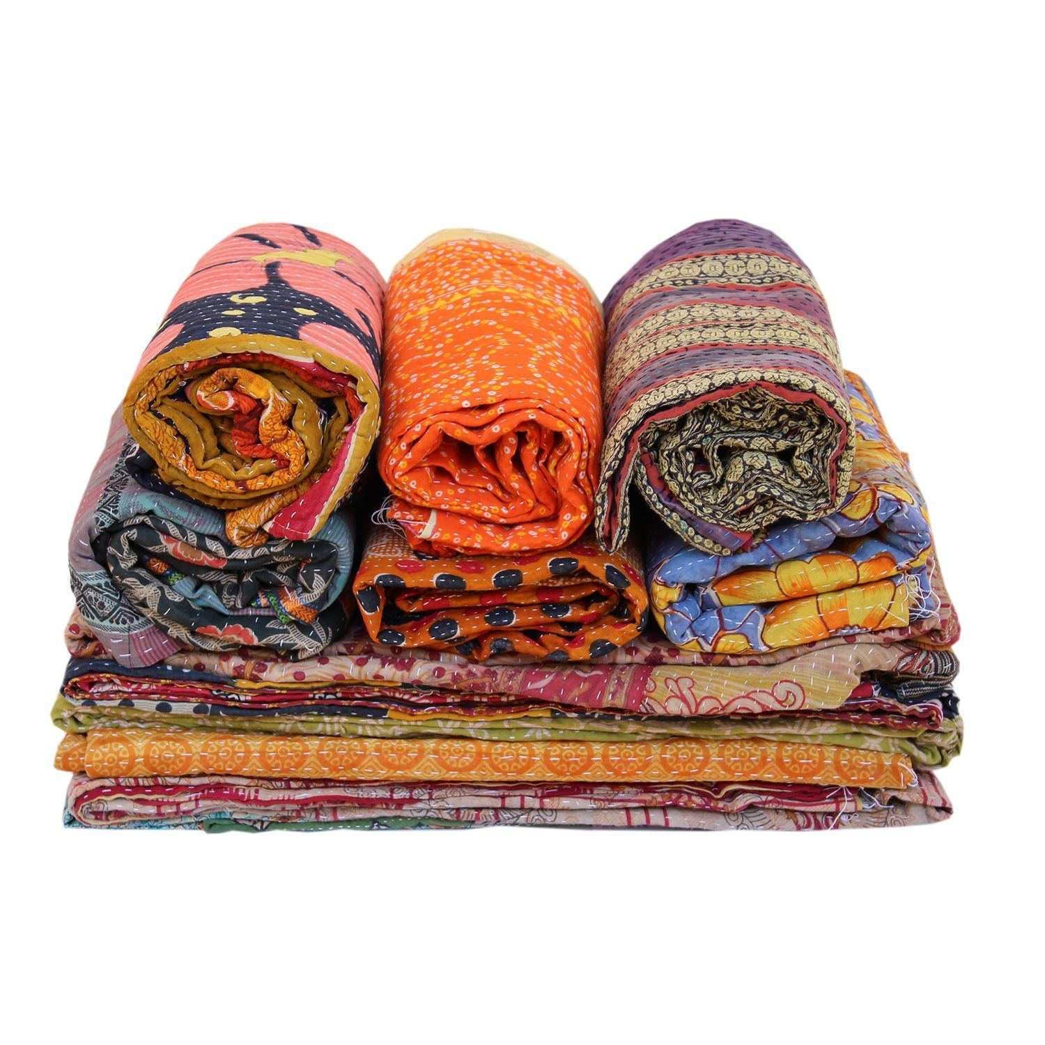 20 PC Lot Wholesale Vintage Kantha Quilt  Throw Blanket Bedding India Bedspread