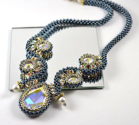 Milos Halo Necklace Beading Kit denim crystal ab Bead kits