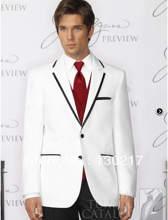 Red and White Wedding Tuxedos | Wedding Tuxedo for Groom Red ...