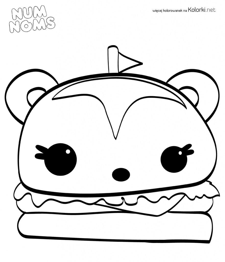 Ciastko Hamburger Nun Noms Kolorowanka Cartoon Coloring Pages Coloring Pages Cute Coloring Pages