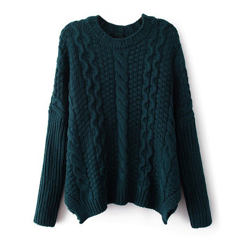 ZLYC Women's Classic Cable Knit Batwing Sleeves Pullover Sweater ...