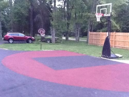My Basketball Court Sealed With Latex Ite Airport Grade Sealer First Then Lied Color