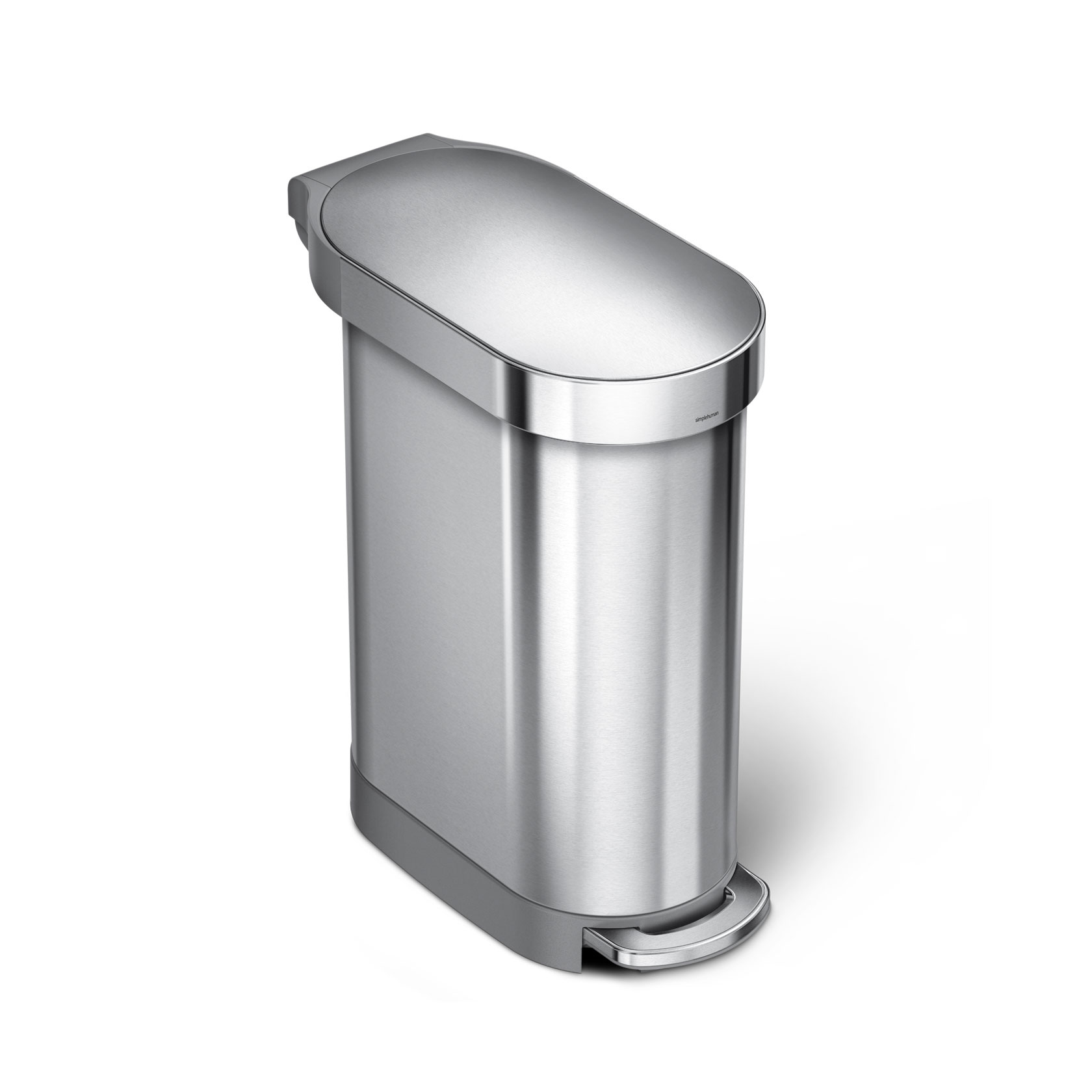 45 Litre Slim Step Can With Liner Rim Stainless Steel Simplehuman Kitchen Trash Cans Trash Can Small stainless steel trash can