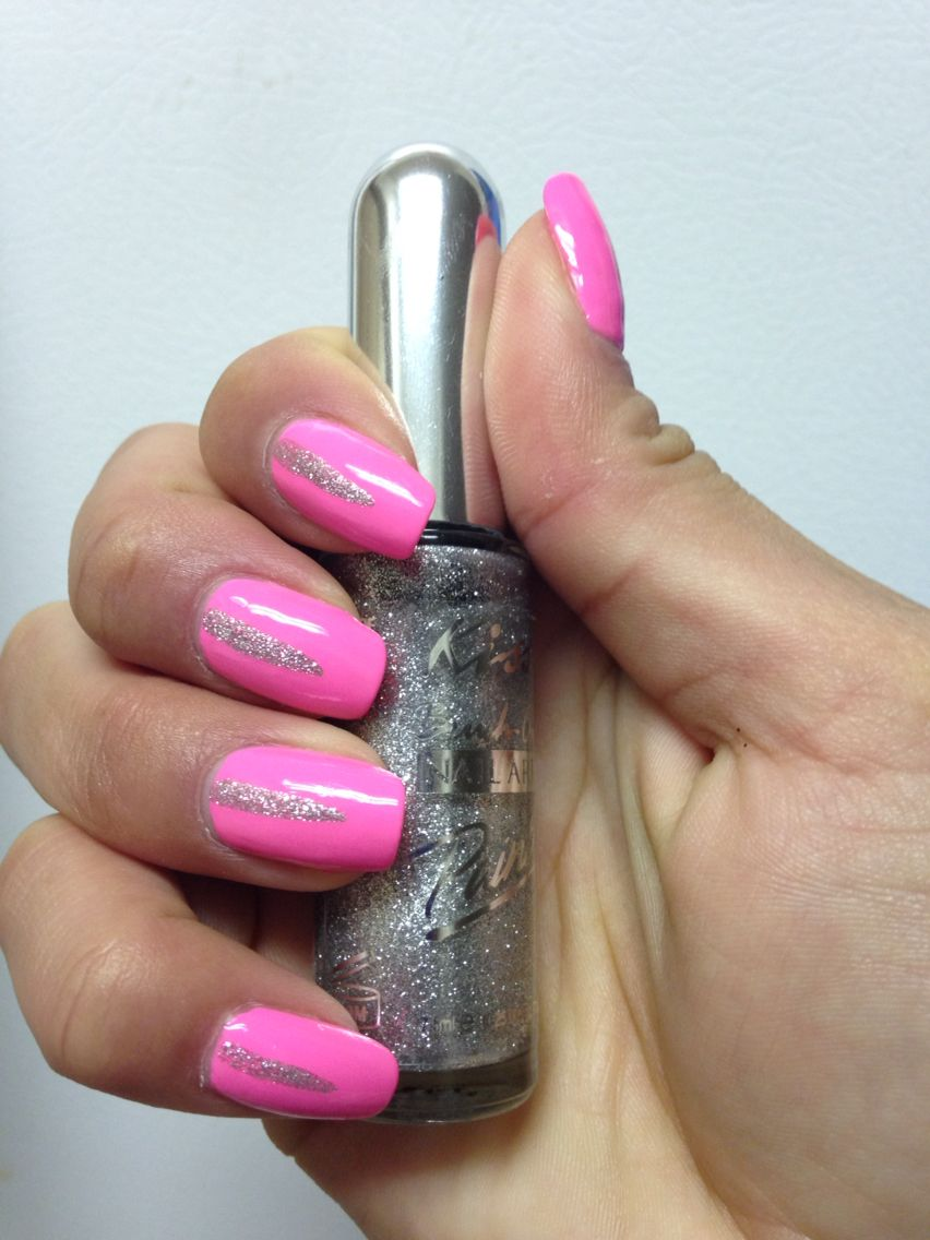 Kiss Brand Thin Brush Nail Polish In Silver Glitter Perfect For Adding Designs To Your Nails