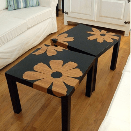 Tavolino Per Mangiare A Letto Ikea.Tavolino Ikea Nero A Fiori Pittura Dei Mobili Mobili Dipinti E Ikea