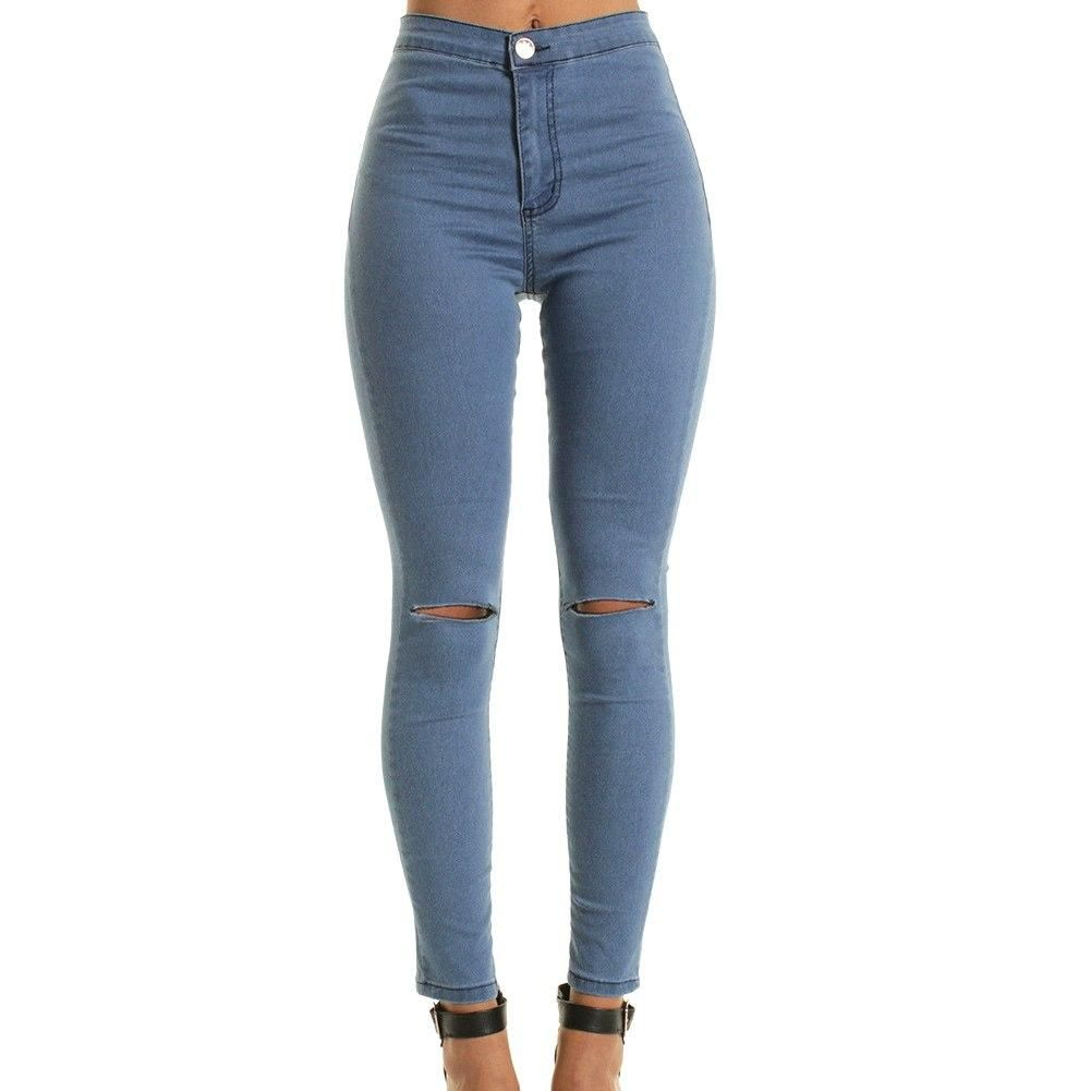 e50f71292c1 New Fashion Summer Style White Hole Ripped Jeans Women Cool Denim High  Waist Pants Capris Female Skinny Black Casual Jeans