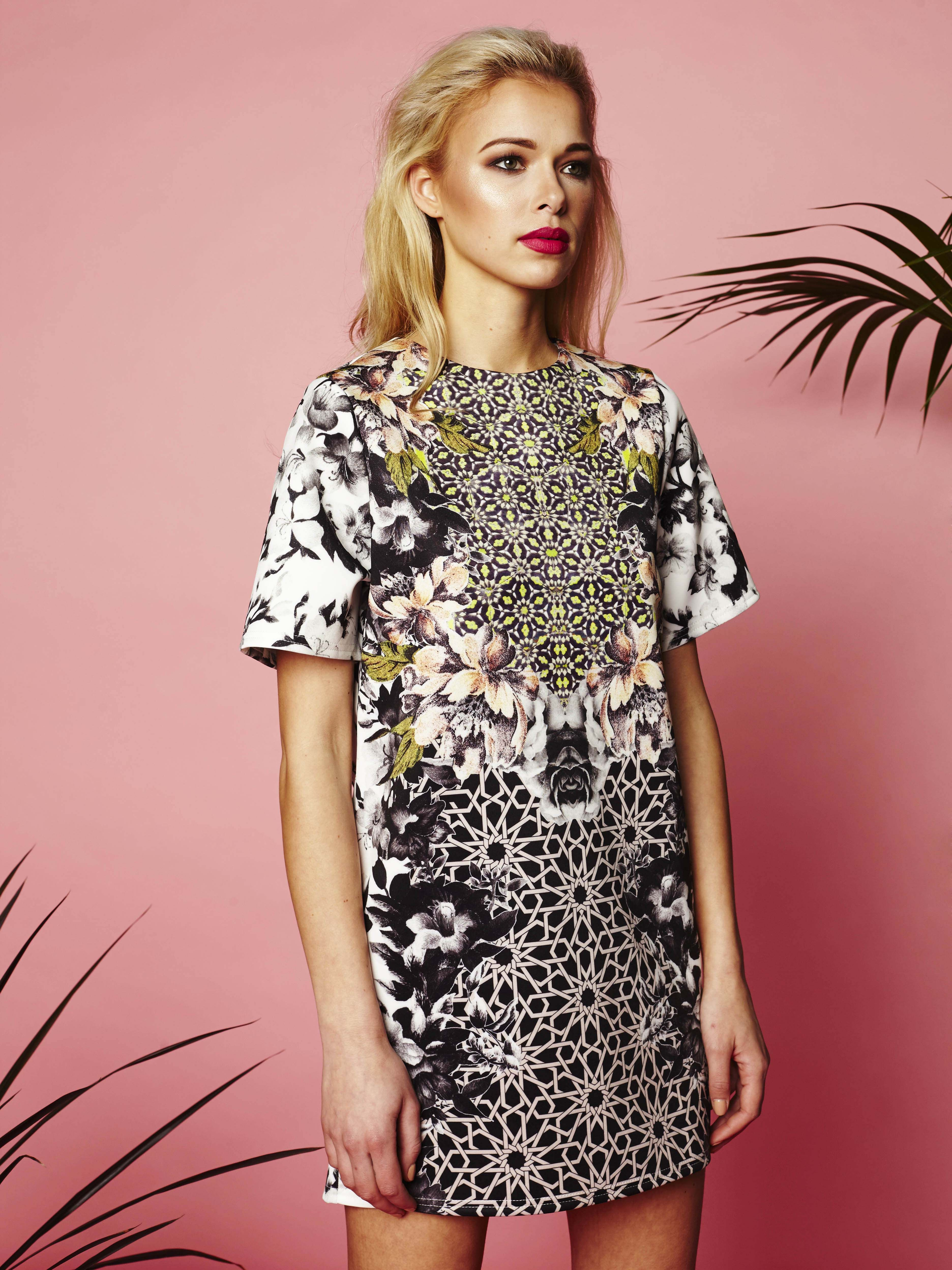 7ed5e90382 Harper shift dress: Womenswear mini dress, floral placement print with  geometric and floral patterns