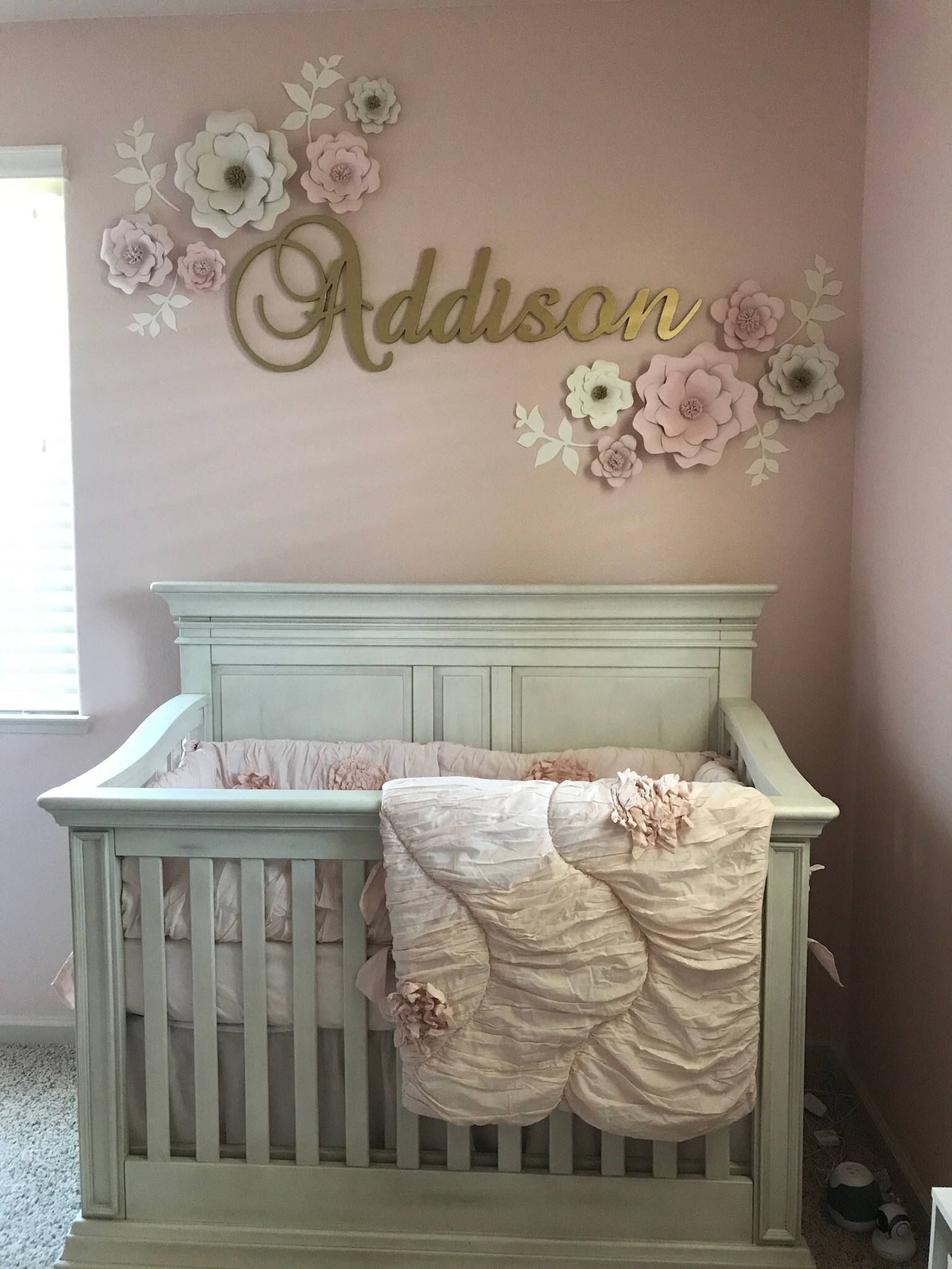 Set Of 10 Blush White Paper Flower Wall Decor Girls Room
