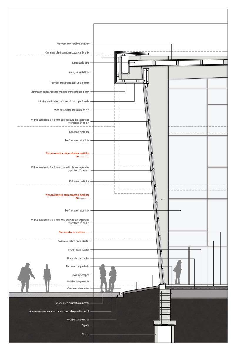 Corte fachada de un auditorio buscar con google corte for Arquitectura nota de corte
