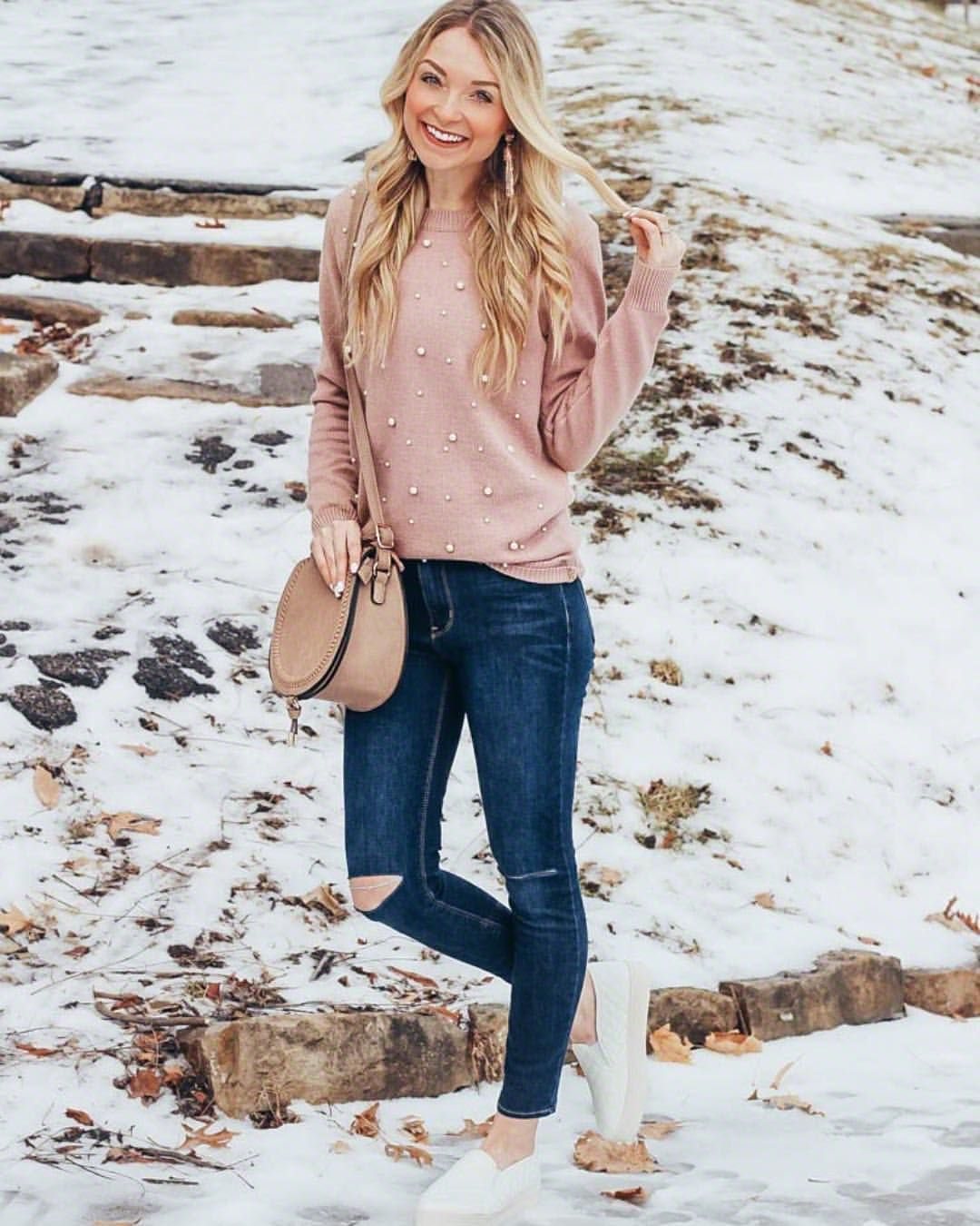 Pearl Sweater Pink Sweater Distressed Jeans White Sneakers Crossbody Purse Winter O Valentines Day Outfits Casual Girly Outfits Cold Day Outfits