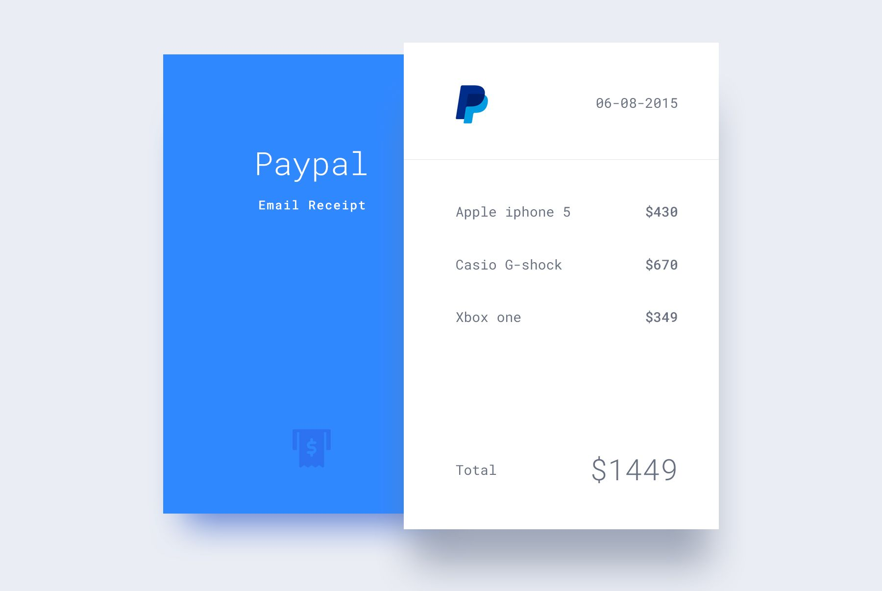 web design receipt flat 20 for thank you page