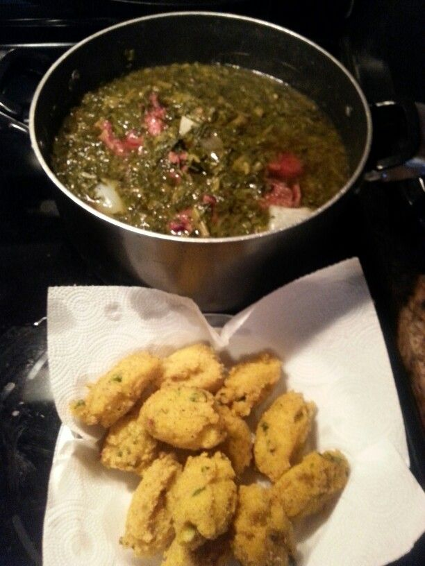 Hot Water Cornbread Nuggets, Mixed Kale, Collard and Mustard Greens, Smoked Neckbones....#Cravings Like A Mug!