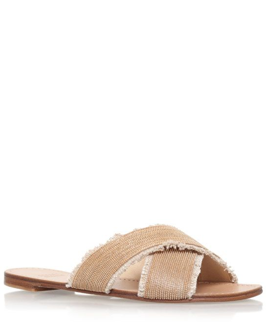 Stuart Weitzman Gold Edgeway Slip On Sandals