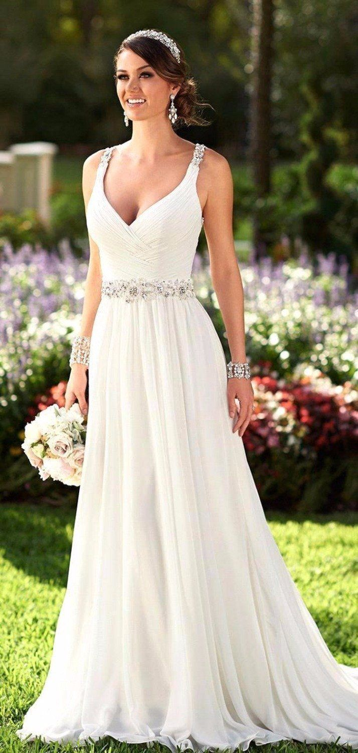 Sexy beach wedding dress boho cheap white iovry bohemian wedding