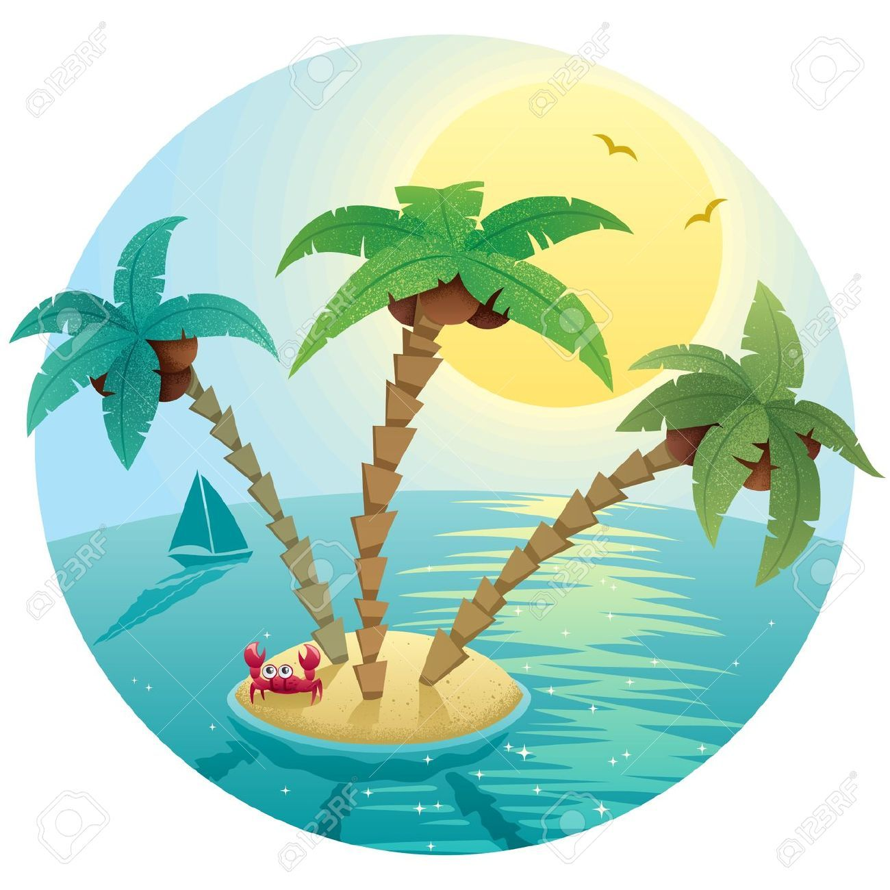 landscape small tropical island stock vector cartoon palm tree rh pinterest com Tropical Beach Clip Art free tropical island clipart images