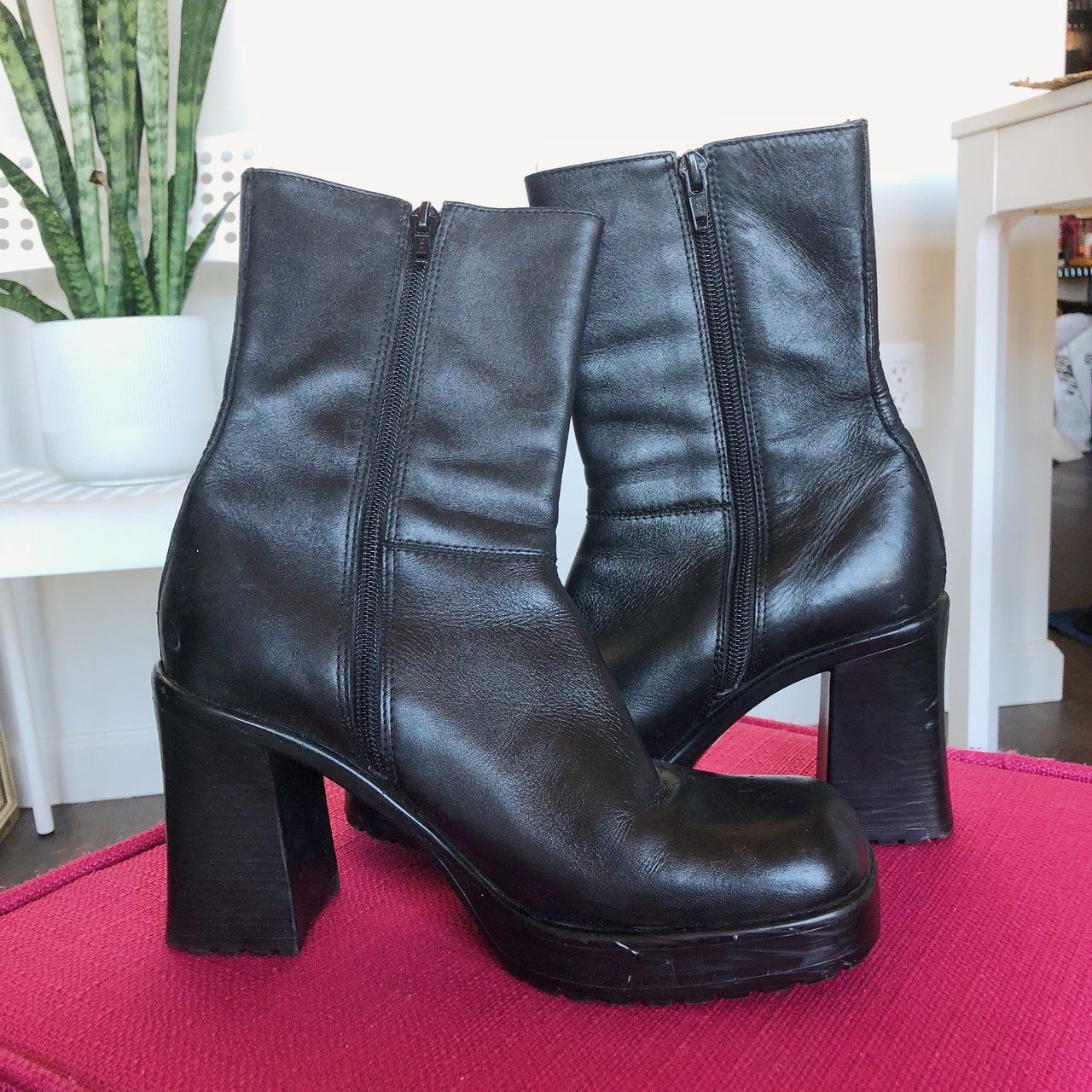 58ac8d4eab6 Listed on Depop by turtleneckgal | wants | Chunky heels, Boots, Depop