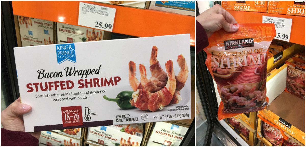 keto frozen foods at costco including bacon wrapped shrimp