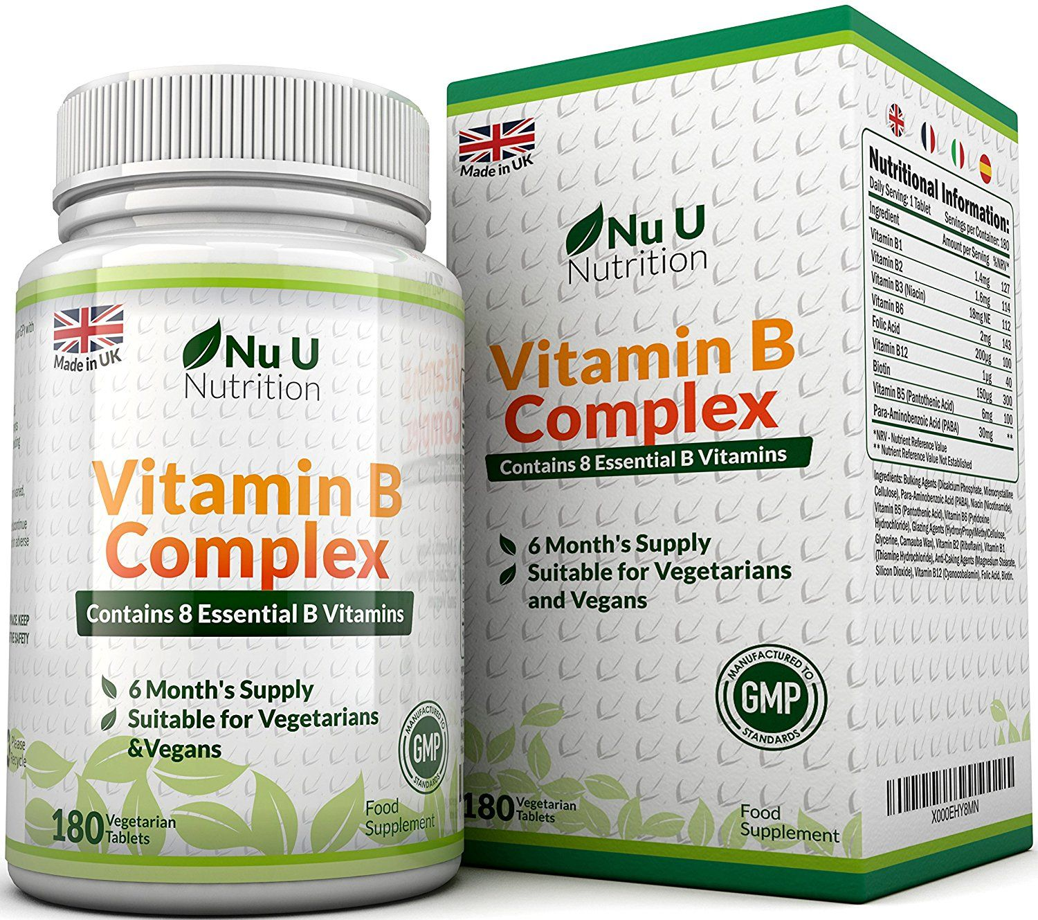 Vitamin B Complex 180 Tablets 6 Month Supply Contains All Eight B Vitamins In 1 Tablet Vitamins B1 B2 B3 B5 B6 B Vitamins Vitamin B Vitamin B Complex