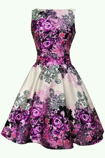 A Purple/Pink and Black Flower Dress