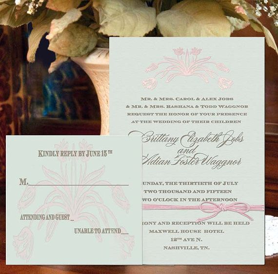 Digital Wedding Invitation Ideas: Elegant Mint Green Wedding Invitations With Digital
