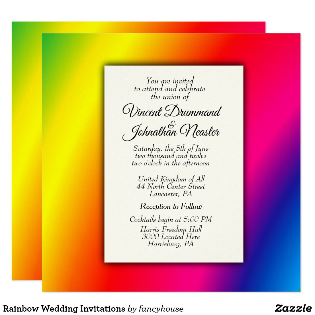 Rainbow Wedding Invitations 40% off | Wedding Invitations | Pinterest