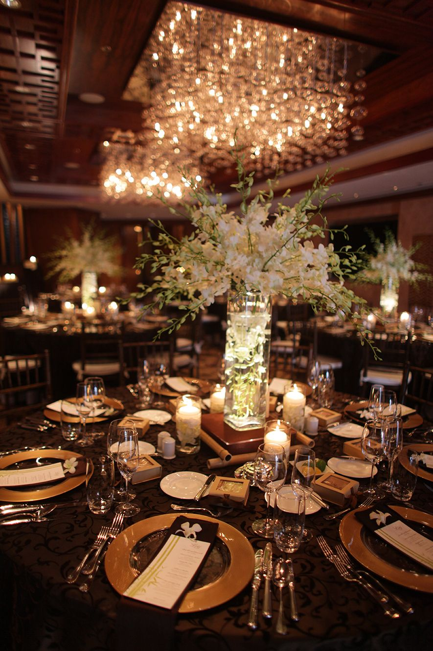 Brown And Gold Wedding Reception Decoration Gold Wedding