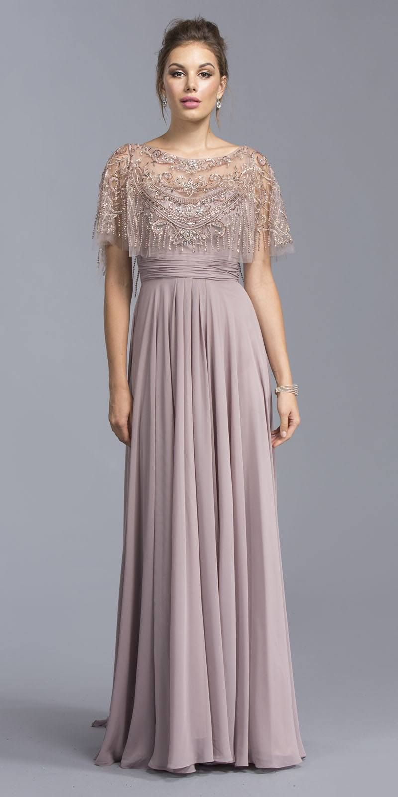 dc5fd92f41ba Aspeed USA M2045 Mauve Floor Length Formal Dress with Embroidered Poncho –  DiscountDressShop
