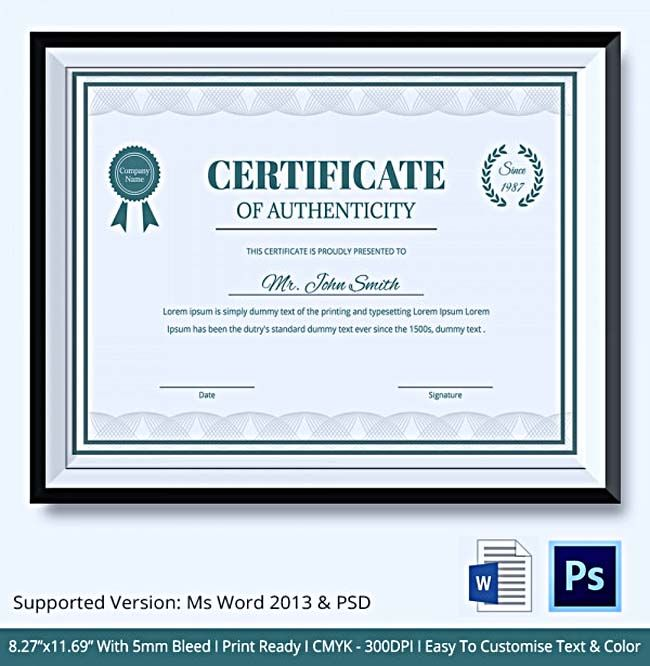 Blank Certificate Of Authenticity Limited Edition Prestige Of Your