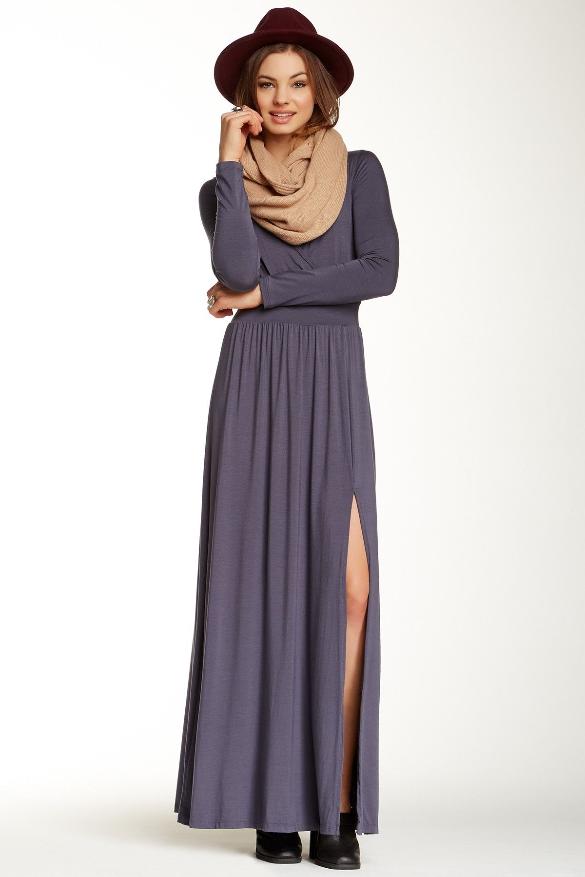 Go Couture | Surplice Neck Side Slit Maxi Dress | My Style | Pinterest