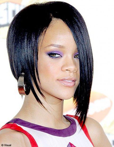 photos coiffure rihanna brune coiffure carre asymetrique