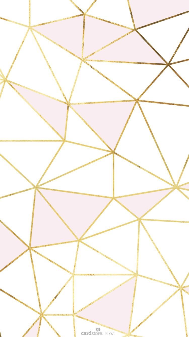Cute Pale Pink And White Triangles With Gold Trim Iphone Background Destop Wallpaper Gold Wallpaper Pattern Wallpaper