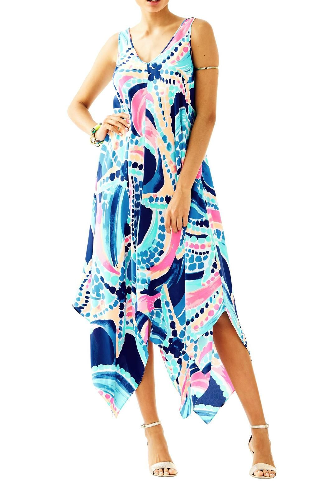 You'll love the way you look in the silk waterfall Anise Dress. It has a double V-neckline that is bra-friendly putting this dress in the running for one of your favorite dresses ever.  Anise Silk Dress by Lilly Pulitzer. Clothing - Dresses - Printed Sandestin Golf and Beach Resort Florida