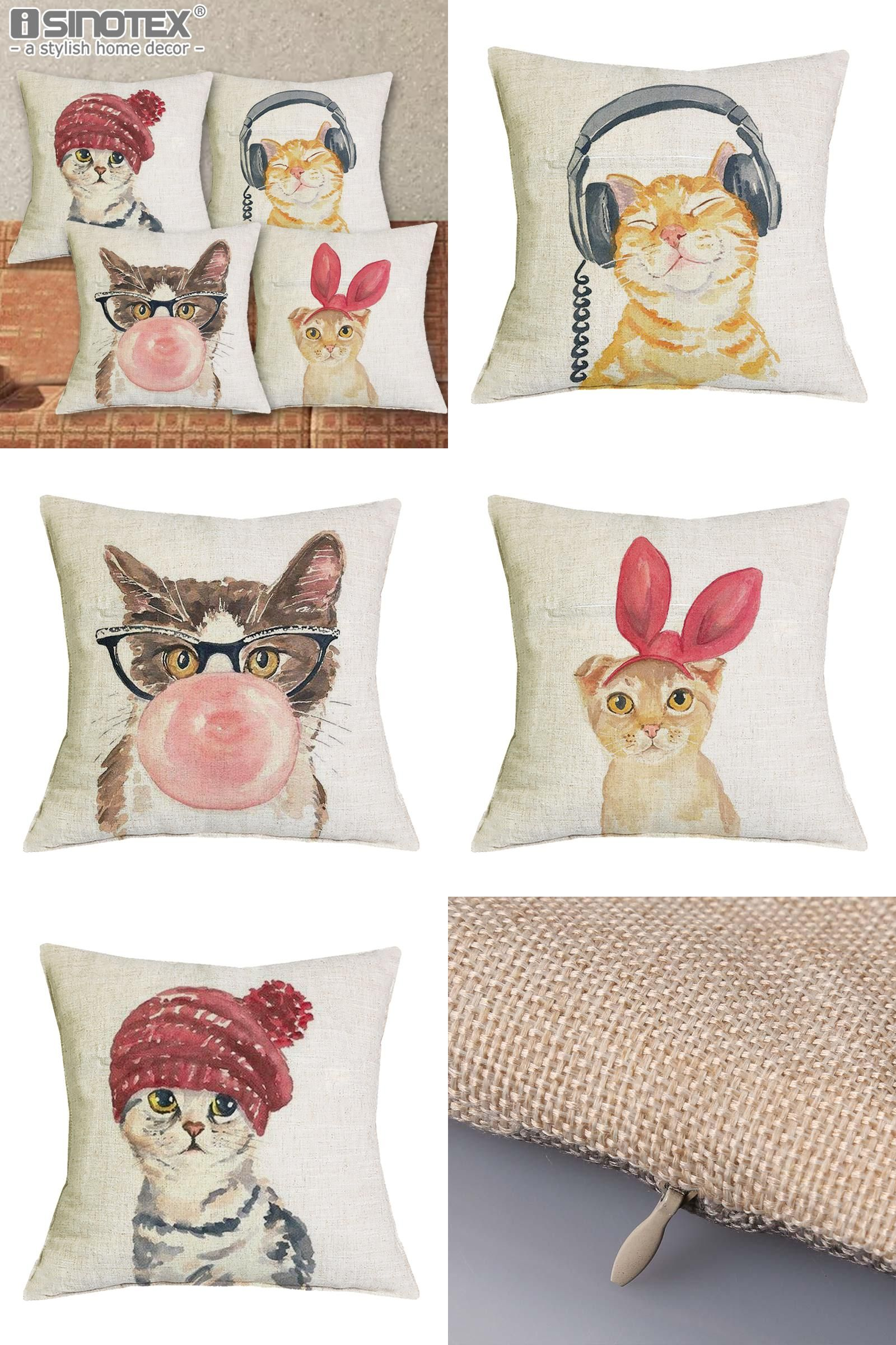 Visit to buy cute lovely cat decorative cushion cover cotton linen