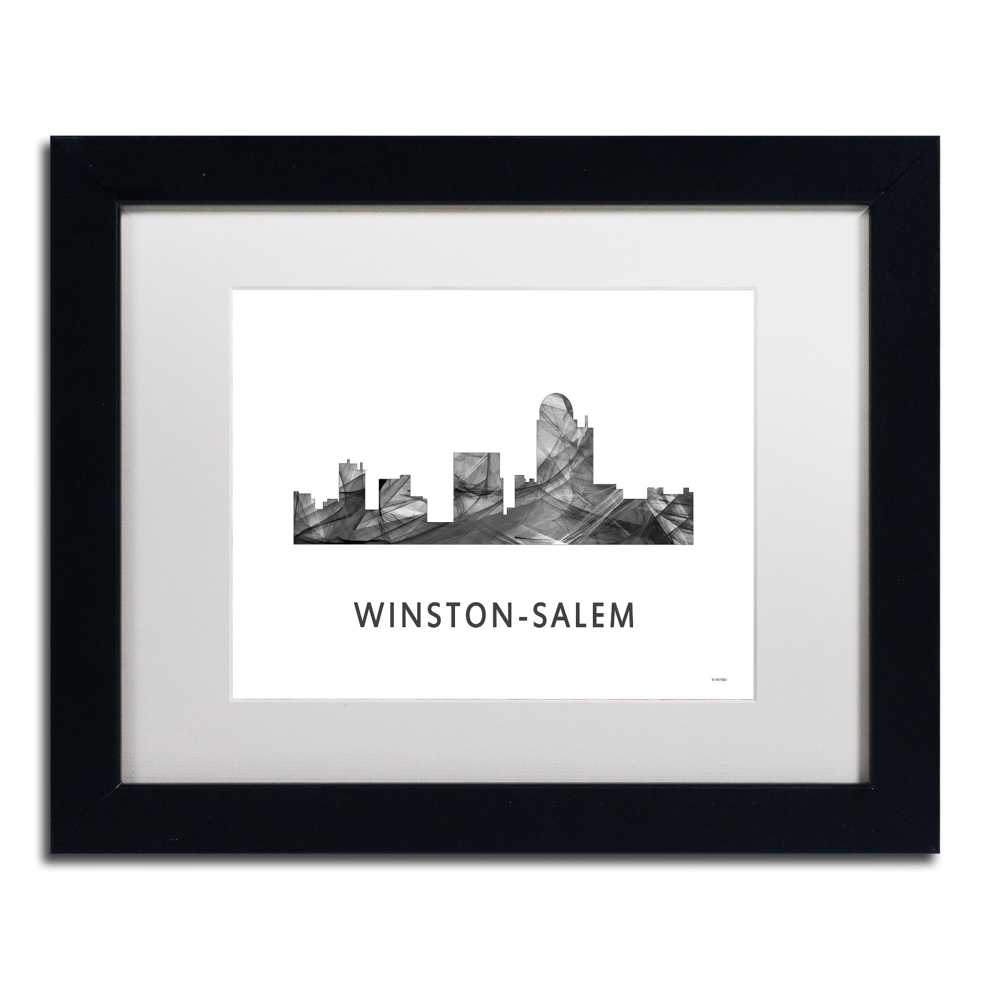 This ready to hang, matted framed art piece features a black and ...
