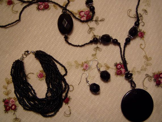 Black Jewelry Set CLEARANCE SALE by MsMuffinTiggywinkles on Etsy, $6.69