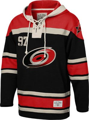 Carolina Hurricanes Black Old Time Hockey Lace Up Jersey Hooded Sweatshirt 9e12f7fff19
