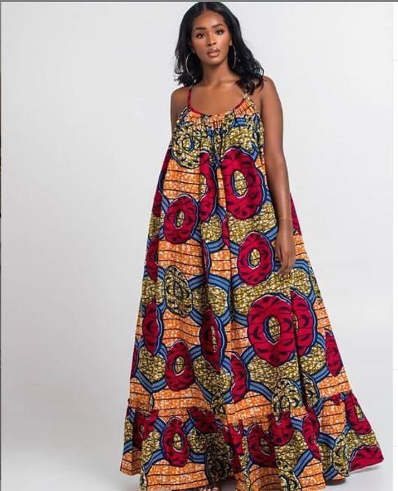 Articles similaires à Ankara robes africain robes africaines combinaisons africaines tirages africain femmes d'été robes 100% coton Maxi robes sur Etsy