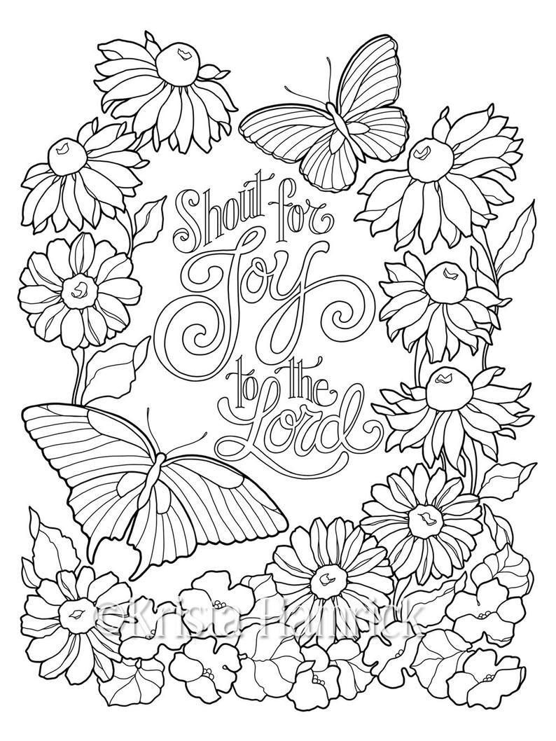 Inspirational Butterfly Garden Series Of Three Coloring Pages Etsy Butterfly Coloring Page Love Coloring Pages Christian Coloring